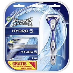 Cтанок для бритья Schick Hydro 5 + 1 кассета (Wilkinson Sword Hydro 5) +4 кассеты (набор для бритья)