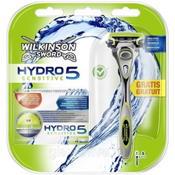 Cтанок для бритья Schick Hydro 5 + 1 кассета (Wilkinson Sword Hydro 5) +4 кассеты SENSITIVE (набор для бритья)