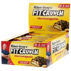 FITCRUNCH, Whey Protein Baked Bar, Peanut Butter, 12 Bars, 3.10 oz (88 g) Each