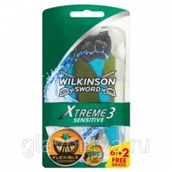 Станок для бритья одноразовый Schick (Wilkinson Sword) Xtreme-3 Sensitive с 3 лезвиями, 4 шт.